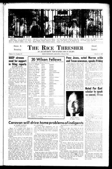 THE RICE THRESHER - Rice Scholarship Home - Rice University