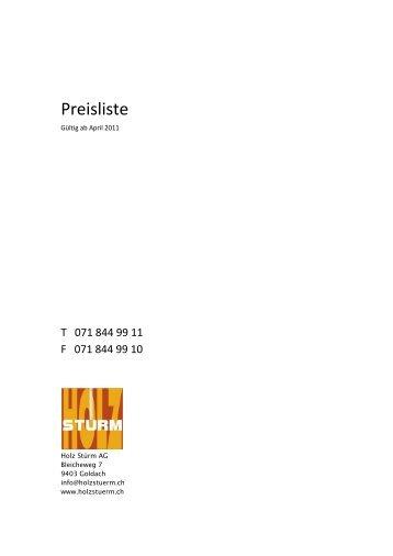 Preisliste - bei Holz Stürm AG, Goldach