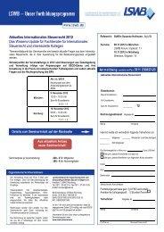 Aktuelles Internationales Steuerrecht 2012 Das Wissens ... - LSWB