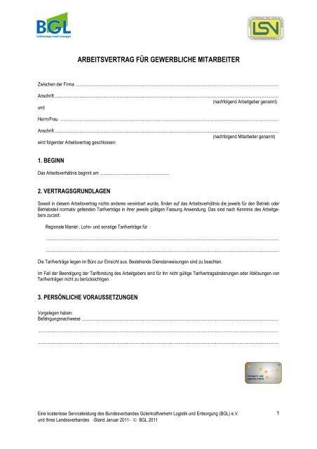 Arbeitsvertrag Für Gewerbliche Mitarbeiter