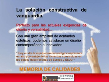 Memoria de Calidades - Casas steel