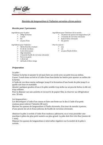 Ravioli de langoustine aux parfum de verveine ... - HOTEL CAILLER