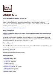 Abaisa SL, Spain - Companies - Dato Capital
