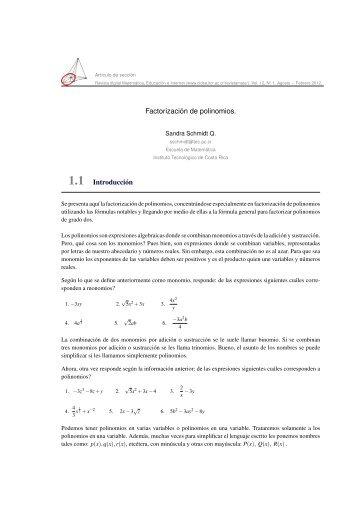 Factorización de polinomios. 1.1 Introducción - TEC-Digital