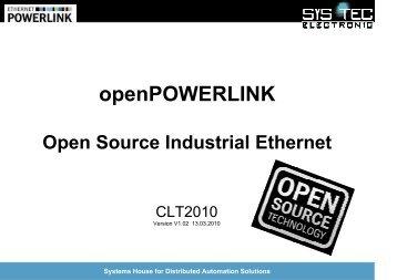 openPOWERLINK - Open Source Industrial Ethernet - Chemnitzer ...