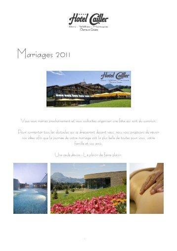 Notre broschure de mariage à télécharger en PDF - HOTEL CAILLER