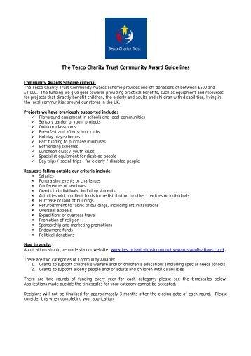 The Tesco Charity Trust Community Award Guidelines - Tesco PLC