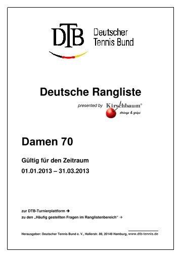 Deutsche Rangliste Damen 70 - Deutscher Tennis Bund