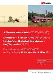 Schienenersatzverkehr (KBS 560/840/850 ... - Ludwigsstadt