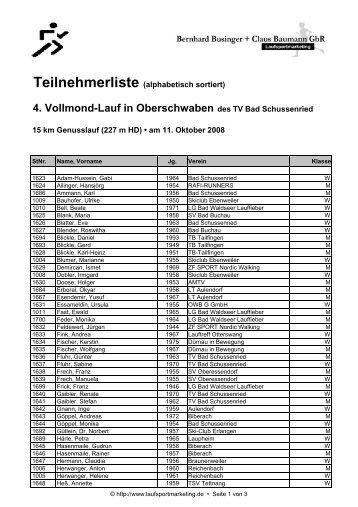 4. Vollmond-Lauf in Oberschwaben des TV Bad Schussenried