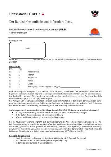 MRSA - Sanierungsbogen