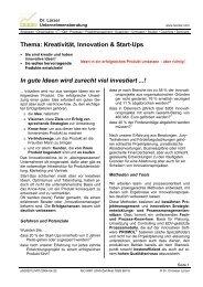 Thema: Kreativität, Innovation & Start-Ups In gute Ideen wird zurecht ...