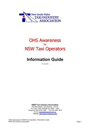 OHS Awareness NSW Taxi Operators - NSW Taxi Industry