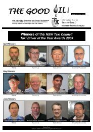 Winners of the NSW Taxi Council Taxi Driver of the Year Awards 2009