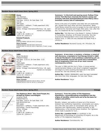 VINTAGE Random House Adult Green Omni, Spring 2013 Vintage ...