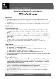 Motor Vehicle Registry Information Bulletin CPV09 - Taxi Licence