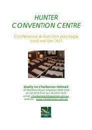 HUNTER CONVENTION CENTRE - Charbonnier Hallmark