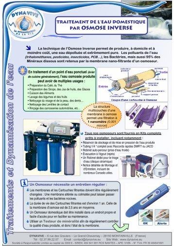 Traitement de l'eau par Osmose Inverse - Dynavive