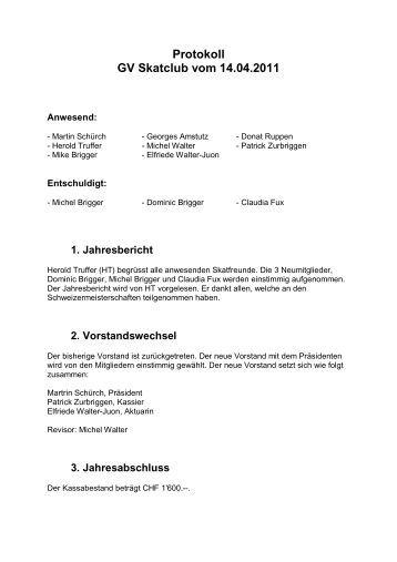 Protokoll GV Skatclub vom 14.04.2011 - Hotel Restaurant Helvetia ...