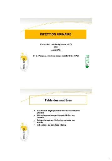 INFECTION URINAIRE Table des matières - HPCI
