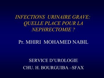 INFECTIONS URINAIRE GRAVE: QUELLE PLACE POUR LA ...