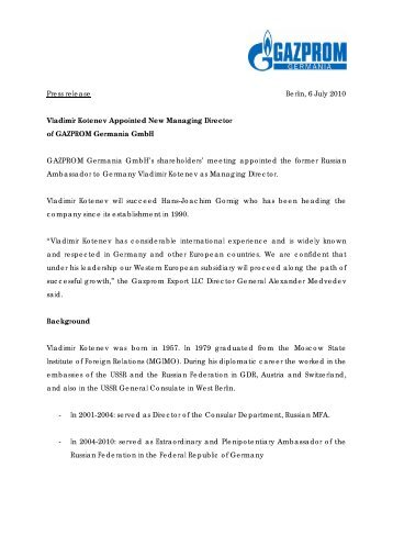 Press release Berlin, 6 July 2010 Vladimir Kotenev Appointed New ...