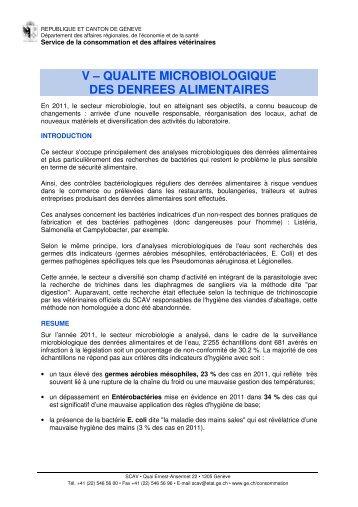 Partie V- Microbiologie des denrées alimentaires - Etat de Genève