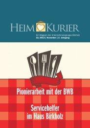 Pionierarbeit mit der BWB Servicehelfer im Haus Birkholz