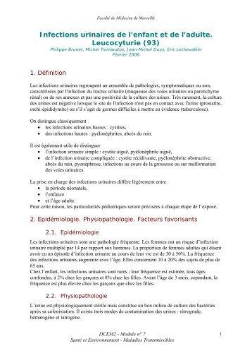 Infections urinaires de l'enfant et de l'adulte. Leucocyturie - Serveur ...