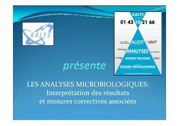 LES ANALYSES MICROBIOLOGIQUES: Interprétation des résultats ...