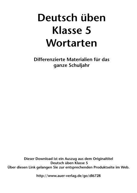 Deutsch üben Klasse 5 Wortarten - FORREFS