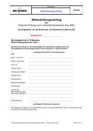 Weiterbildungsvertrag - Schule für Touristik