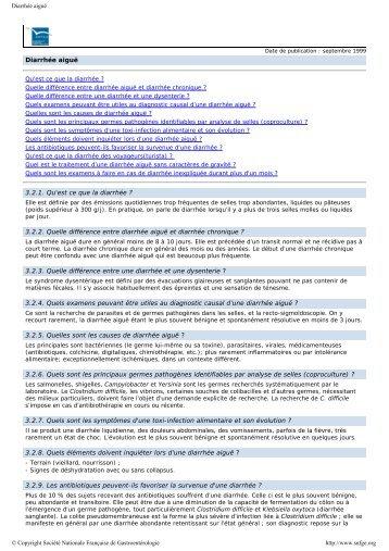 Diarrhée aiguë - diagnostic différentiel et traitement - Swiss ...