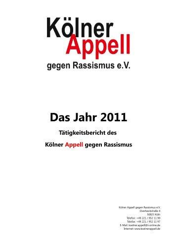 Tätigkeitsbericht 2011 - Kölner Appell gegen Rassismus