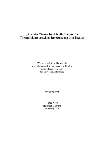 """""""Aber das Theater ist nicht die Literatur"""" - Thomas - Thomas Mann"""