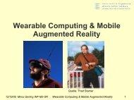 Wearable Computing & Mobile Augmented Reality