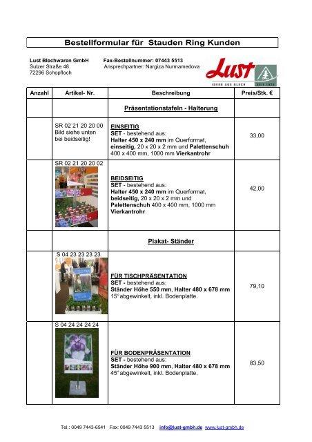 Bestellformular für Stauden Ring Kunden - LUST Blechwaren GmbH