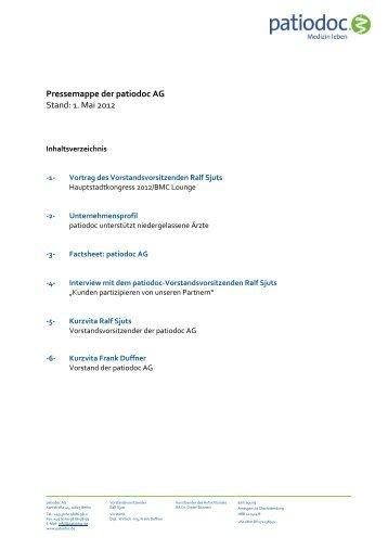 Pressemappe der patiodoc AG Stand: 1. Mai 2012