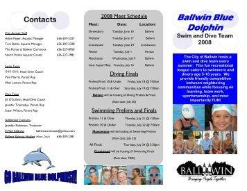 Ballwin Blue Dolphin Swim & Dive Team 2008 - The City of Ballwin