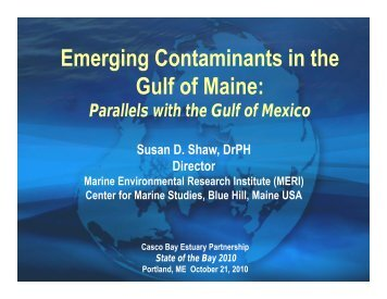 Emerging Contaminants in the Gulf of Maine: - Casco Bay Estuary ...
