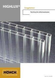klicken für Verlege- und Behandlungshinweise Stegplatten Acryl