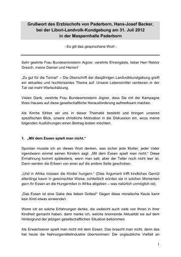 Bischofswort Hans-Josef Becker
