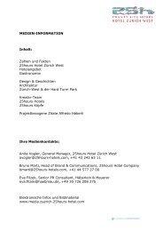 Medieninformation 25hours Hotel Zürich West 2013
