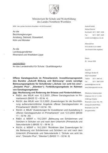 Änderungserlass des MSW zur Offenen Ganztagsschule im ...