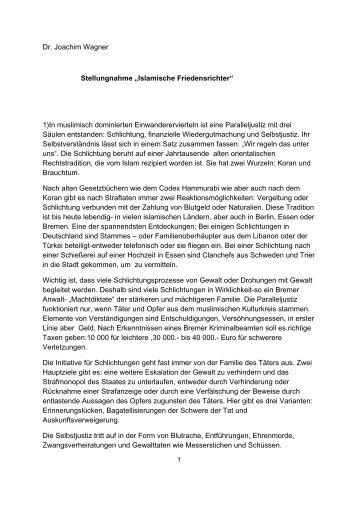 """Dr. Joachim Wagner Stellungnahme """"Islamische Friedensrichter"""" 1 ..."""