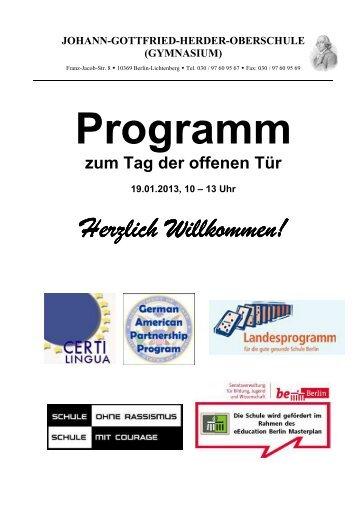 Ablaufplan Für Beide Tage G Herder Gymnasium
