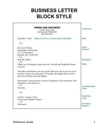 Personal Business Letter Block Style   Mr. Behlingu0027s Web