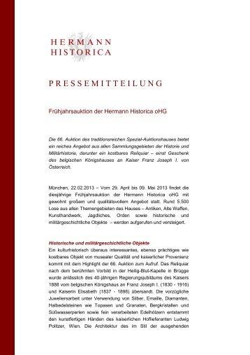 Pressemitteilung Frühjahrs - Hermann Historica