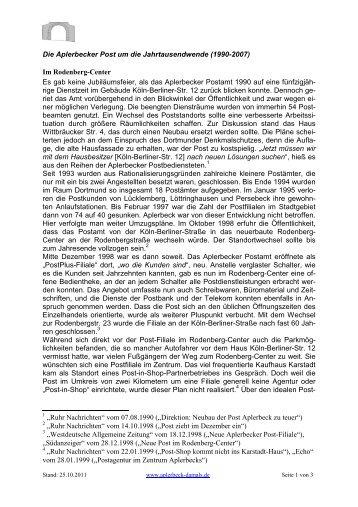 Die jüngste Postgeschichte (1990-2007) - Aplerbeck damals ...