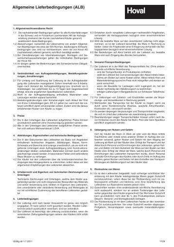 Allgemeine Lieferbedingungen (ALB) - Hoval Herzog AG